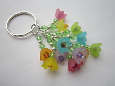 Keyring / Bag Charm - Multi-coloured Lucite Flowers - Bunch of Summer Flowers