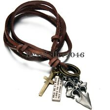 Vintage Men's Charm Celtic Fleur De Lis Cross Leather Brown Cord Necklace
