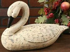 New Primitive Country Carved Resin Large BENT NECK WHITE GOOSE Duck Swan Decoy