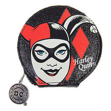 HARLEY QUINN GLITTER SMALL COIN PURSE DC COMICS LADIES ZIP RETRO WALLET BLACK