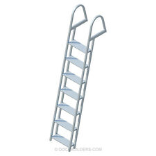 "7-Step Angled Stationary Dock Ladder with 5"" Extra Wide Steps Anodized Aluminum"