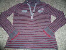 schönes Damen Shirt Long-Shirt Pullover v. SOCCX Gr. L / 40 grau-rot Langarm