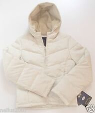 BNWT Alpha Industries Ecru Off White Feather Down Winter Hoodie Jacket Coat XS