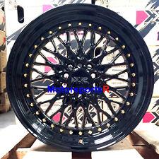 XXR 536 Wheels 18 x 9 +32 Black Gold Rivets Deep Dish Step Lip Rims Mesh 5x114.3