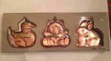 Solid Copper Cookie Cutters Molds(3) Duck Bear Bunny Old Dutch  NIB