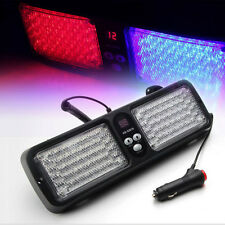 12 Modes 86 LED Emergency Warning Car Auto Visor Strobe Light Blue Red