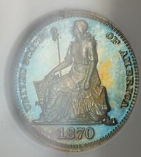 1870 Proof Copper Half Dime 5c Pattern Coin J-812 NGC PF-67 RB Toned WW