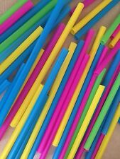 Box of 40 Large Plastic Multi-Color Drinking Straws Milkshakes Smoothies Boba 9""