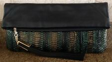 B Brian Atwood Multicolor Robin Genuine Snakeskin Foldover Clutch NWT