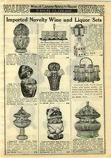 1929 PAPER AD Novelty Beverage Liquor Sets Egg Shape Dice Owl Dog Lamp Shape