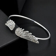 Angel Wing Christian Charm Faux Diamond Crystal Sterling Silver Chain Bracelet