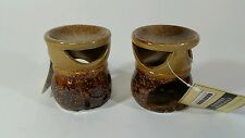 LOT OF 2. brown ceramic Wax tart Oil warmer Burner candle holder