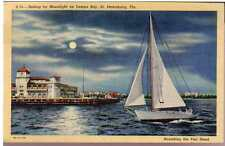 Beautiful 1931 Postcard St Petersburg Tampa Bay Pier Sailboat Florida Unposted