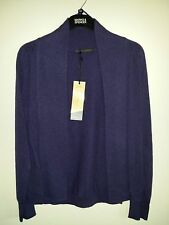 NEW MARKS AND SPENCER EDGE TO EDGE 2 POCKET 100%PURE CASHMERE CARDIGAN IN PURPLE