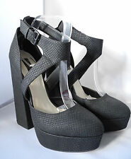 BNWT Topshop Black Platform Block Chunky 'Shell' Heels Strappy UK 7 EUR 40 High