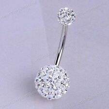 1PC Clear CZ Crystal Disco Ball Belly Ring Stud Stainless Steel Body Piercing