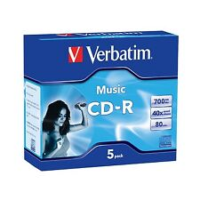 ($0 p&h) 62620 CD-R 80min Verbatim Digital Audio Disc 5 Disk Pack Jewl Case 40x