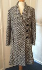 MARKS & SPENCERS .. PER UNA BLACK & WHITE MIX .. WOOL BLEND COAT .. UK  SIZE 12