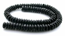 10mm Rondelle Natural Black Agate Gemstone Gem Stone Bead 15 Inch Strand AB34