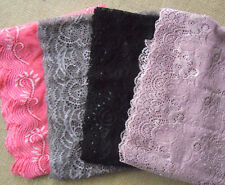 "Lot 10 Yards 7""- 7.5"" Wide Stretch Floral Lace Pink, Black, Taupe, Lilace H0030"