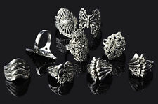 100 pcs Wholesale Jewelry Lots Mixed Style Tibet Silver Vintage Rings Free Ship
