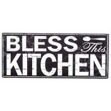 """BRAND NWT Home Decor Black Wood/MDF """"BLESS THIS KITCHEN"""" WALL PLAQUE - 11 3/4"""" W"""