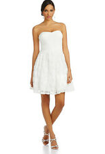 'Hailey' Adrianna Papell ~ White Tulle Flare Rosette Cocktail Dress 6 NEW $189