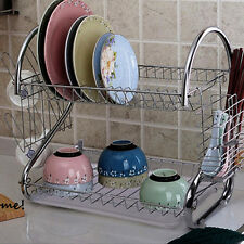 2 Tier Stainless Dish Drainer Drying Rack Kichen Dishes Plate Stand Holder
