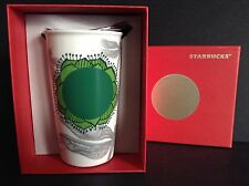 NIB Starbucks Coffee Mug Dragonfly Lily Pad Travel Tumbler Ceramic Metal Lid NWT