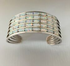Native American Sterling Silver Zuni 5 / Row White Opal Inlay Cuff Bracelet