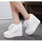 Fashion Sneakers Womens Hidden Wedge Heel High Top Spring Boots lace Up Shoes