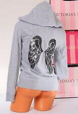 NWT VICTORIA'S SECRET VS Angel Wings Sequins Bling Logo Zip-Up Hoodie Jacket XS