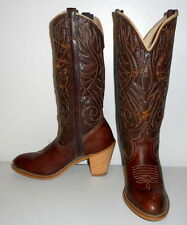 Womens 6 M Cowboy Boots Acme Dingo Distressed Boho Western Vintage Cowgirl Brown