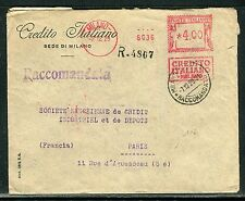 Italie - Affranchissement mécanique en recommandé de Milan en 1919  réf O 112