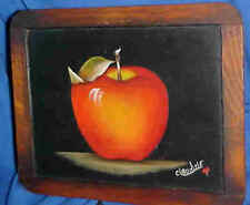 Apple Still Life Painting Art Work Oil/ Acrylic on Small Chalkboard by Claudine
