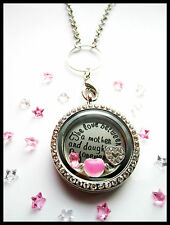 "30mm "" MOTHER & DAUGHTER "" floating Charms + 30mm Memory Locket - gift"