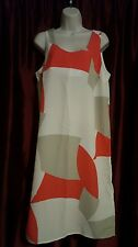 Retro Fashion Star for H&M Cream Red Abstract Dress, Sz 10 EUC