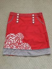 2008 Anthropologie Floreat Tangerine Flower Embroidered A-Line Skirt~Size 6~