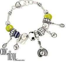 TENNIS LOVER DESIGNER INSPIRED CHARM BRACELET GREAT GIFT CHIC & TRENDY JEWELRY
