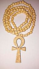 "Wood Ankh Lotus Pendant Egyptian Kemetic Egypt 36"" Bead Necklace Life Pharaoh"