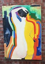 New York Artist Ben Johnson Figurative Abstract Nude Painting. Signed. 1957