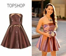 TOPSHOP Two-Tone Bonded Bandeau Rose Gold Bronze Wedding Prom Dress UK 4 BNWT