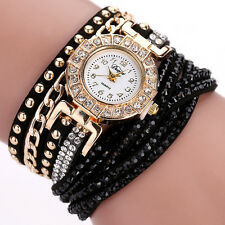 Luxury Gold Fashion Crystal Rhinestone Black Bracelet Ladies Quartz Wrist watch