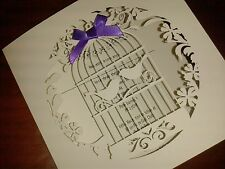 WEDDING INVITATION LASER CUT 2 BIRDS IN BIRD CAGE, INSERT & ENVELOPE (077)