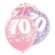 "6 Pink Sparkle Happy 70th Birthday 12"" Pearlized Printed Latex Balloons"