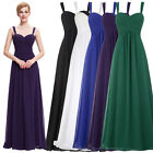 LADIES LONG CHIFFON PROM BRIDESMAID FORMAL DRESS EVENING BALL GOWN UK SIZE 4-18