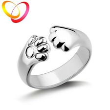 Women Girl's Silver Plated Adorable Cute Cat Claw Wrap Ring Gifts Decoration