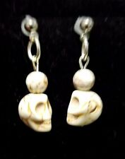 White Natural Howlite Skull Dangle Earrings onSilver Plated Ball Stud Findings