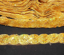 hologram Gold Sequin Ribbon Trim 2cm Lace Appliqué Bead Embroidery rhinestone