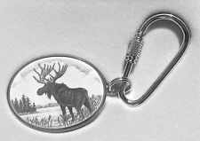 Key Ring Barlow Scrimshaw Carved Painted Art Silver Moose 302609 Key Chain